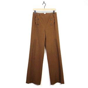 Etcetera Cognac Button Pleated High Waist Trouser
